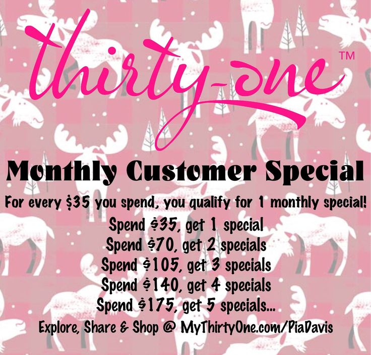 Monthly Customer Specials from Thirty-One are uniquely special. For every $35 you spend, you qualify for 1 Customer Special. Every month has a different special, so stay in contact with your 31 consultant. I LOVE the new Thirty-One prints for the 2017-2018 Fall-Winter season. Moosin' Around & Chevron Squares are great additions to Charcoal Crosshatch & Check  Mate for the Black & White (& Red) prints. Check them out at MyThirtyOne.com/PiaDavis #ThirtyOne