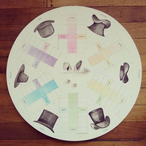 """"""" El conejo de abajo del sombrero """" tablero de parqués para 6 jugadores. Las fichas serán conejitos. Pieza única #Himallineishon #parchis #game #bunny #magic #hat #handpainted #homedecor"""