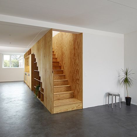 Timber Stairs / Storage Wall with integrated Shelving and Kitchen