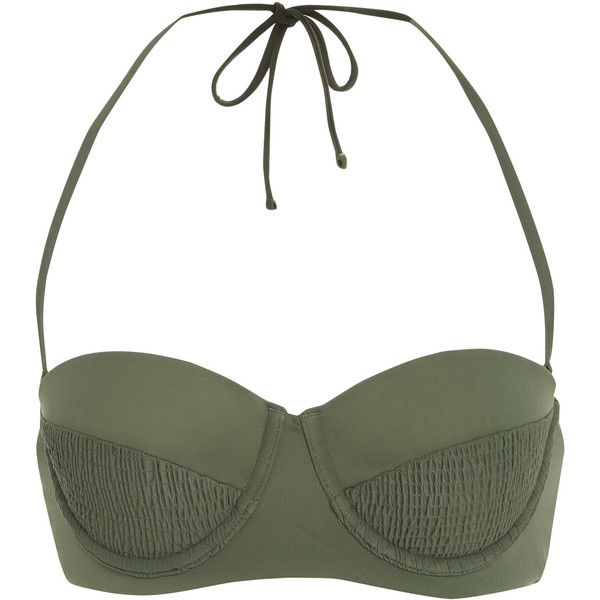 Tori Praver Margot Molded Underwire Bandeau Top ($125) ❤ liked on Polyvore featuring tops, green, bandeau bikini tops, green top, white bandeau bikini top, tori praver swimwear and white bandeau top