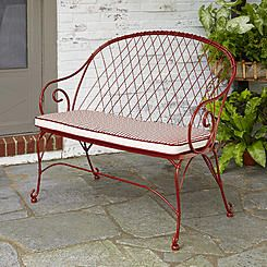Jaclyn Smith Cherry Valley Red 2 Person Bench with Stripe Seat Pad