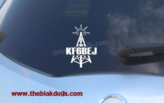 Ham Radio Call Sign plus Tower Vinyl Sticker  personalized Car Decal by blakdogs on Etsy, $7.00