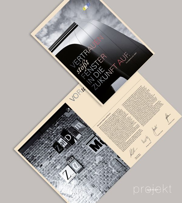 Agency: Projektagentur Weixelbaumer, Linz, Austria, Client: UBM, Project: annual report of 2009