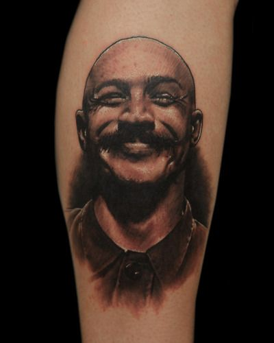 Tom Hardy as Bronson. Done by Tyler Turnbull out of Rose and Anchor Tattoo in Katy, TX.