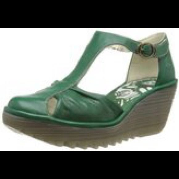 Fly London Yelo Wedge Green Brand new Fly London shipped from Portugal Green size 8.5 (39) never worn, still in box. fly london Shoes Wedges