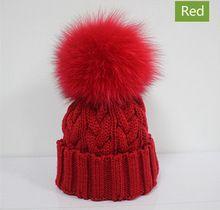 Hot crianças Pompom Cap chapéu de malha crianças chapéu de pele de raposa grande pele de raposa Real Pom Pom inverno Beanie chapéu para menino menina(China (Mainland))