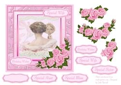 Birthday card with vintage lady and pink roses decoupage on Craftsuprint - View Now!