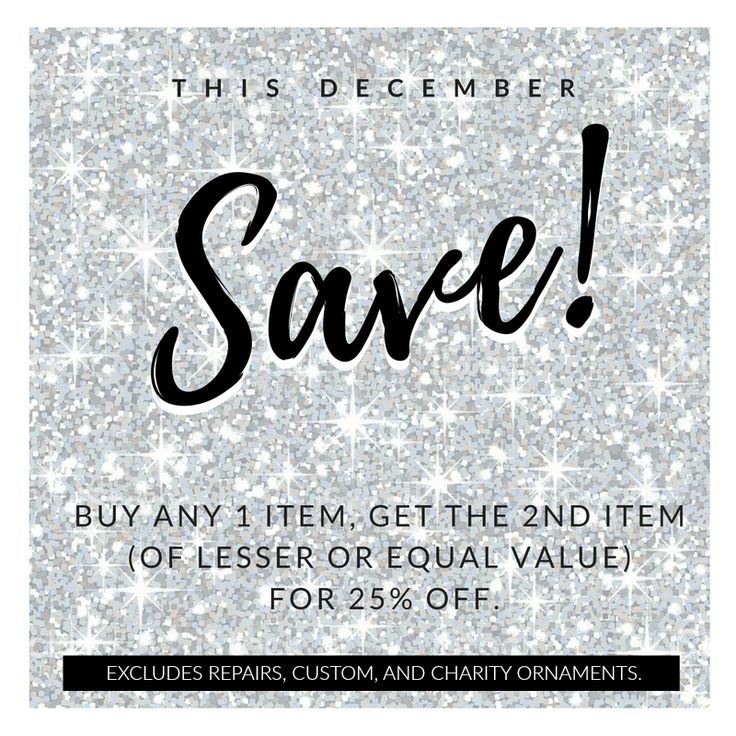 This December: SAVE! Buy any 1 item, get the 2nd item (of lesser or equal value) for 25% off at Dana's Goldsmithing.   Excludes repairs, custom #jewellery and charity ornaments.  https://www.danasgoldsmithing.com/