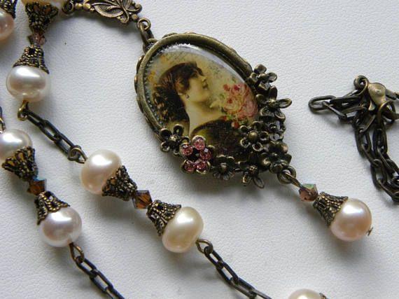 Victorian Lady Necklace Pink Pearl Necklace Art Nouveau