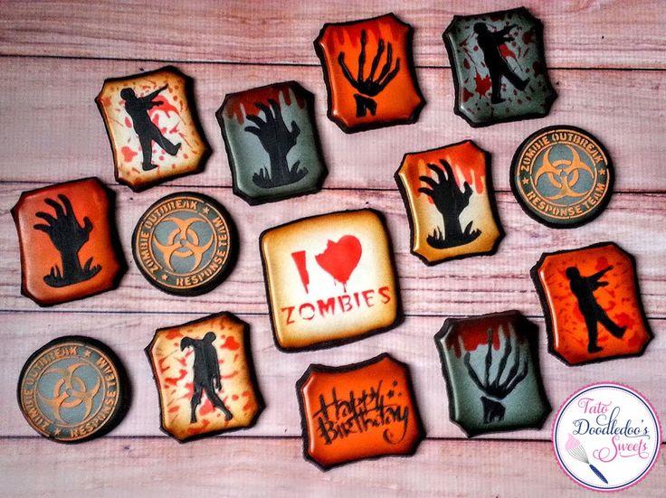 halloween cookies zombie birthday cookies fall birthday decorated sugar cookies royal icing