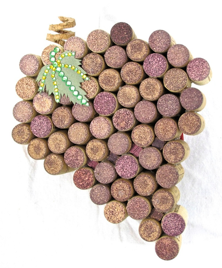 "Wine Cork ""Grapes on a Vine"" Accented with a Hand-Cut Paper Leaf with Rhinestone Details and Hand-Carved Corkscrew Cork Stem"