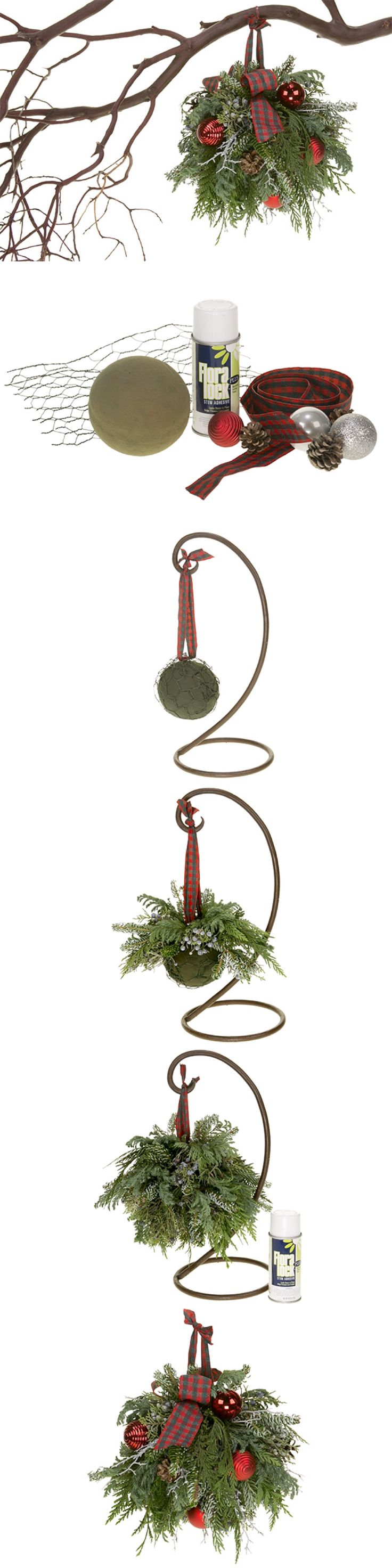 Christmas kissing ball DIY how-to. Fragrant evergreens to add to the holiday decor.