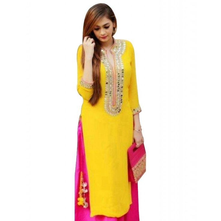 Party Wear Georgette Yellow Kurti - 108032