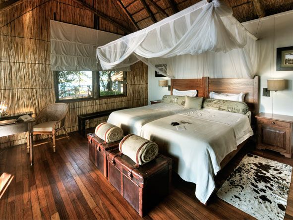Rustic thatch & canvas suites at Xugana Island Lodge - #Botswana #Romantic #Beds #weloveafrica