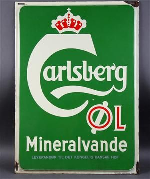 Vare: 3784677 Breweriana. Emaljeskilt for 'Carlsberg Øl Mineralvande', ca. 1900-tallets midte