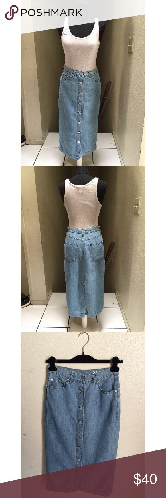 Gap Skirt Medium length, front button up, light wash denim skirt. Open to offers GAP Skirts Midi