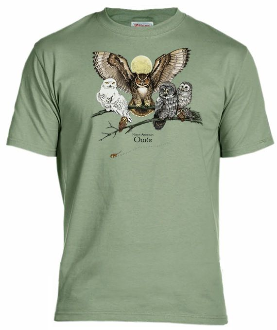 Show your wisdom or wizardry with our owl t-shirt. Owls have large forward facing eyes to help them see in the dark and judge distance. Their soft plumage enables them to fly silently and they have excellent hearing. Be a supreme night hunter like the owl, just don't forget to spit out the bones and hair! This shirt depicts many of the species of owls commonly seen, including great horned, barred and snowy.Printed in intricate detail on Fruit of the Loom 100% cotton stone gree...