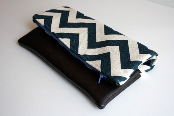 Chevron and Leather fold over clutch by FlyChicks: Leather Clutch