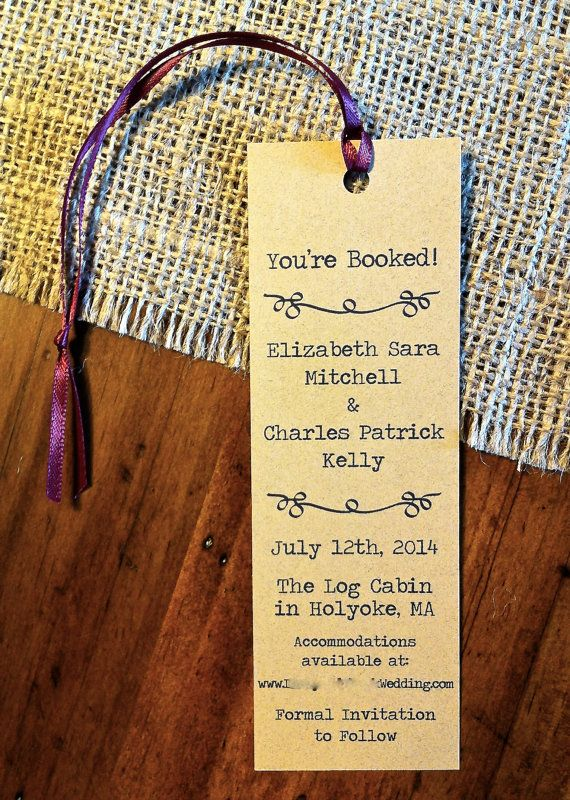 Literary Wedding Bookmark Save the Dates set by theBirdandtheBeard, $30.00  maybe with journal or short story