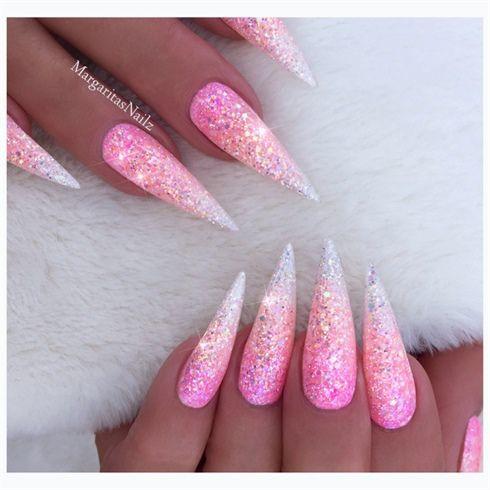 Pink Glitter Ombré Stilettos by MargaritasNailz