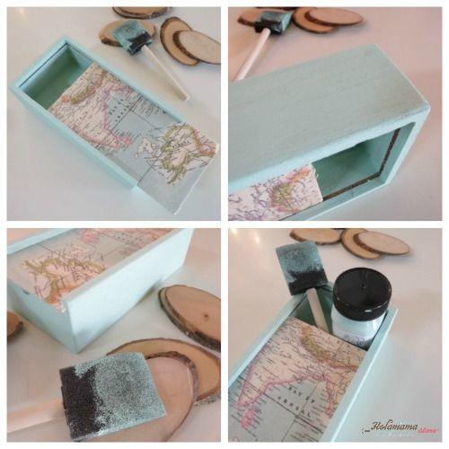 caja mapa holamama decorada con Autentico Chalk paint