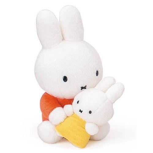 "8"" tall Dick Bruna Miffy plush with a baby Miffy doll"