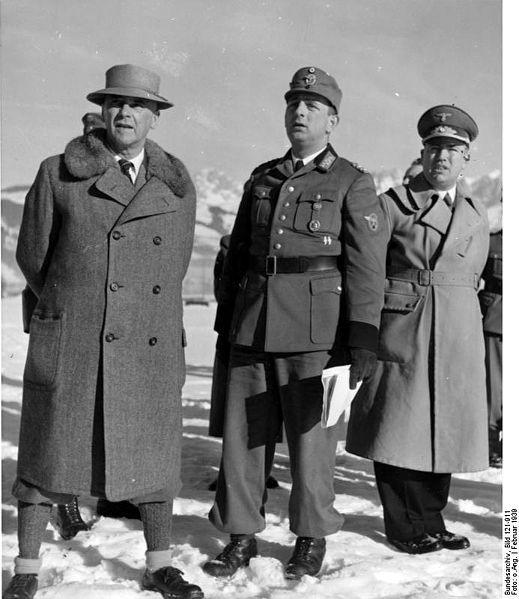 Innenminnister Dr. Wilhelm Frick, Polizeigeneral Kurt Daluege, Gauleiter Franz Hofer; February 1939.