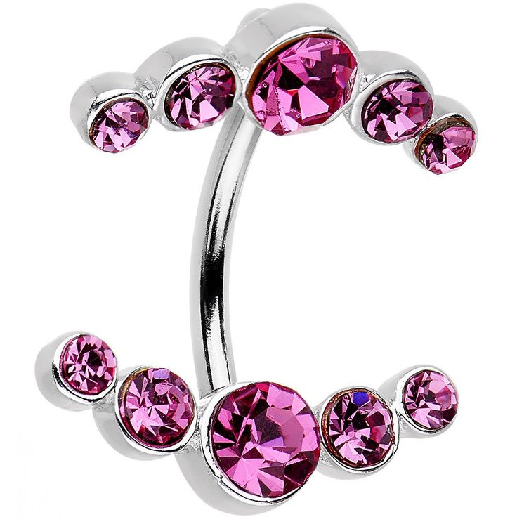 """Product Details You'll never feel a lack of pretty pink style when you have this 14 gauge belly button ring in your navel piercing. The 7/16"""" length curved barbell is made from durable 316L surgical g"""