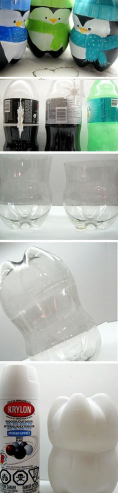 Coke Bottle Penguins | Click Pic for 20 Last Minute DIY Christmas Hacks Tips and Tricks | Recycled Christmas Crafts for Teens to Make
