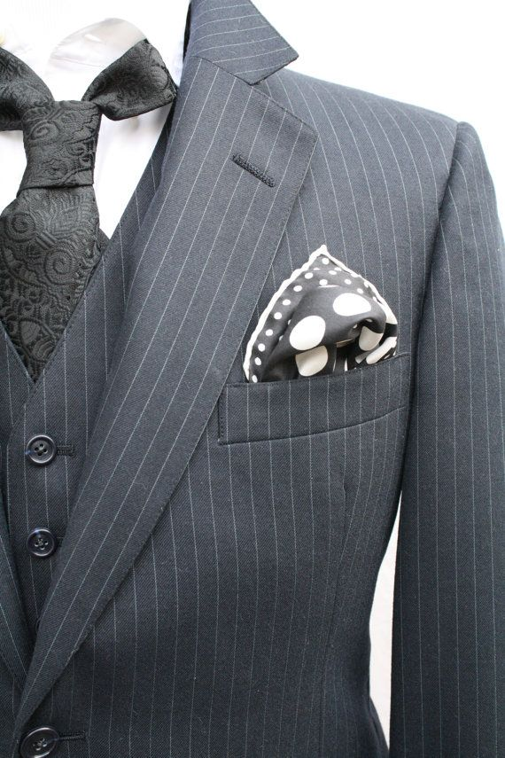 Mens Vintage 3 Piece Black Pinstriped Suit Jacket by ViVifyVintage, $117.00
