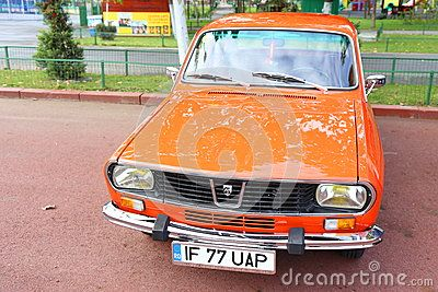 Dacia 1300 car front view in parking outdoor at vintage cars parade in Bucharest, Romania.