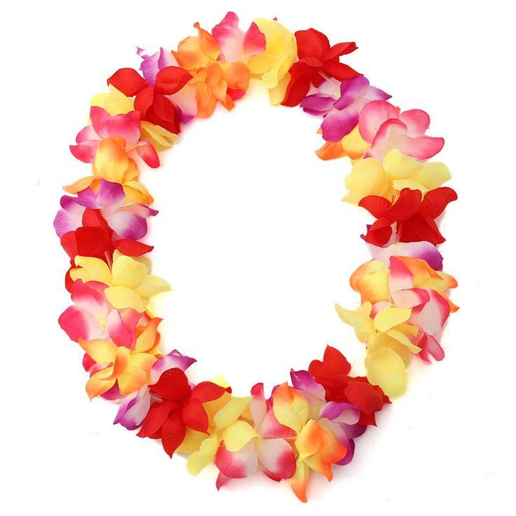 Отличное качество гавайский цветок леев гирлянда ожерелье маскарадный костюм для ну вечеринку гавайи танец 8 цветов купить на AliExpress