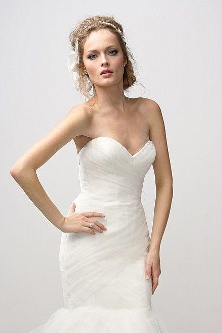 Tulle Satin Chapel Train Sweetheart Mermaid Wedding Dress(WD0642)