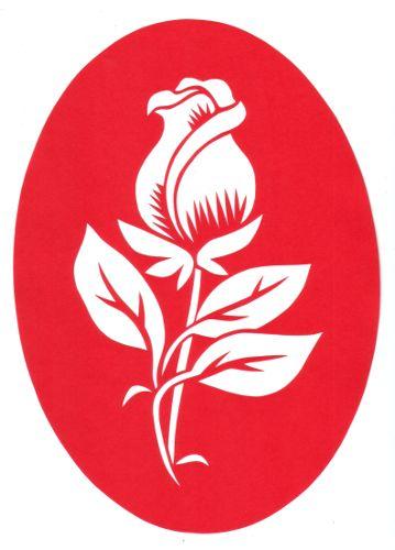 cut paper design Rose Stencil