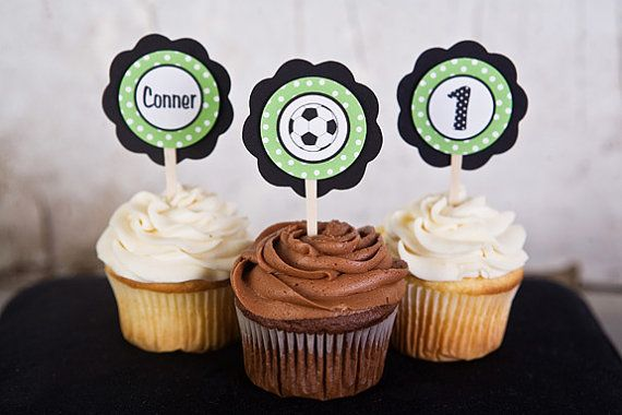 Soccer Theme Cupcake Toppers - Soccer Birthday Party Decorations in Green & Black via Etsy