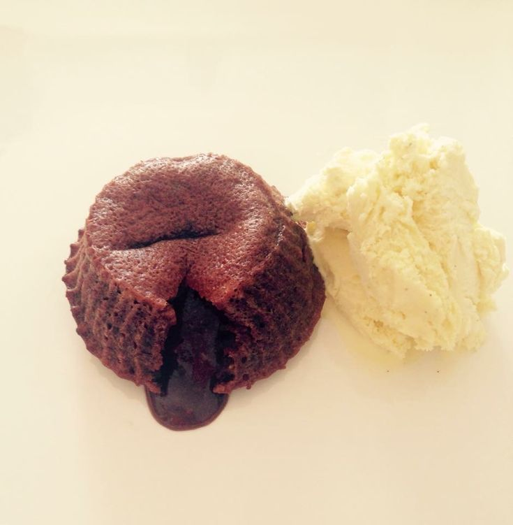 Lava cake with vanilla ice cream