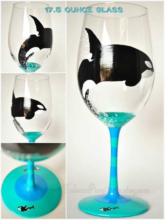 Hand Painted Orca Wine Glasses Killer Whale by TulaczFineArts | WINE-Painted Glasses/Bottles ...
