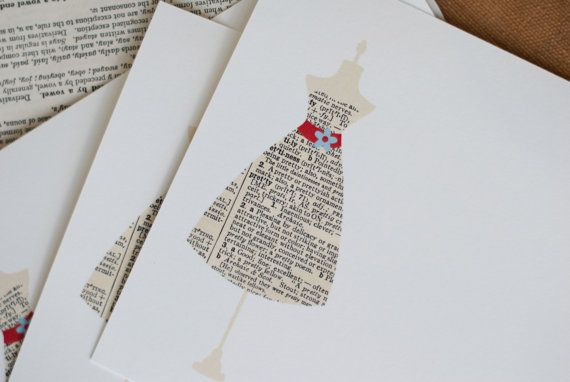 Dress Form Note Cards Vintage Dictionary by prettygirlshop on Etsy
