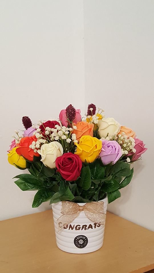 """- 24 roses soap flowers assorted color flowers. - Measures appoximately 11 3/4""""(30cm) tall (4 1/2"""" (11,5cm) tall vase only) - Includes at least 2 different Bushes and Bushes will vary - ITEM # : M1631 - Price : $120 - Delivery : fee not included email us for detail of delivery #www.keziaherez.com #Order keziaherez@gmail.com #mother's day gift #happybirthday gift #valentinesday gift #soapflower #love #flower stagram #flower"""