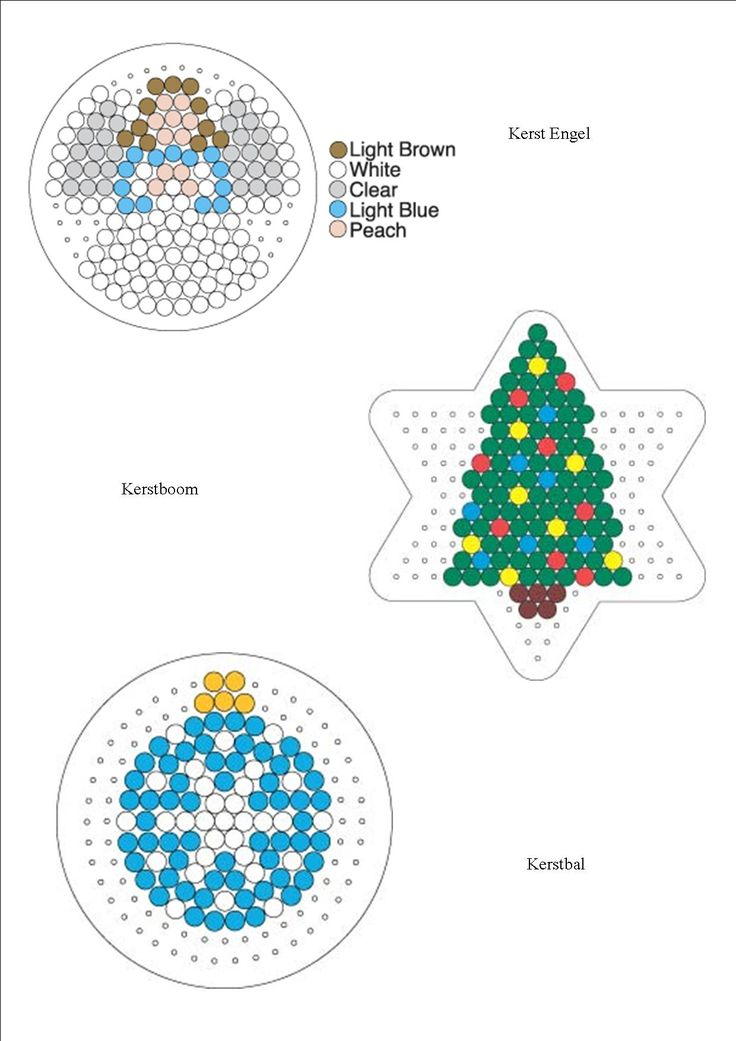 Christmas perler bead patterns (Angel, Tree and Bauble)