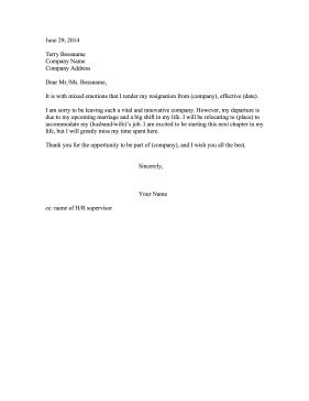 resignation letter for moving out of state
