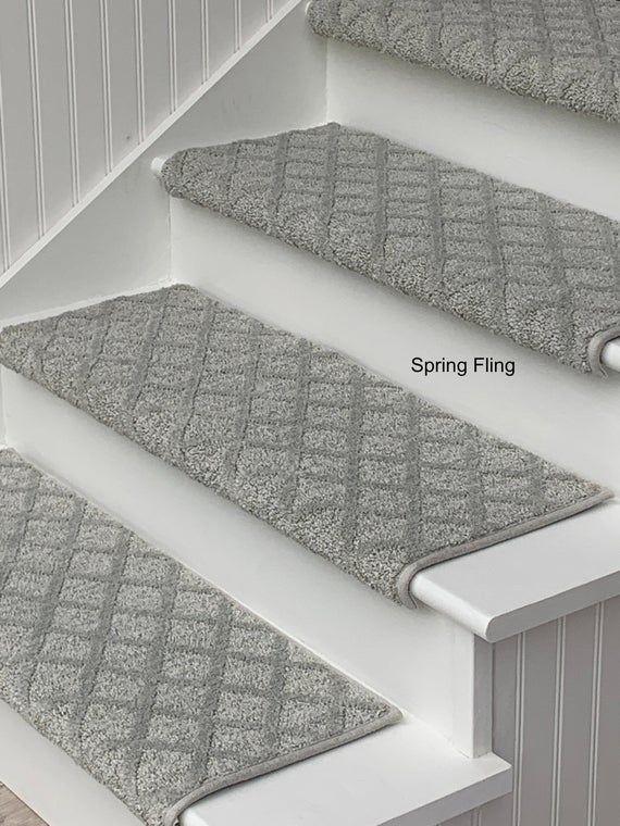 Padded Carpet Stair Treads Oak Valley Diamond Spring Fling Etsy In 2020 Carpet Stair Treads Stair Runner Carpet Stair Treads