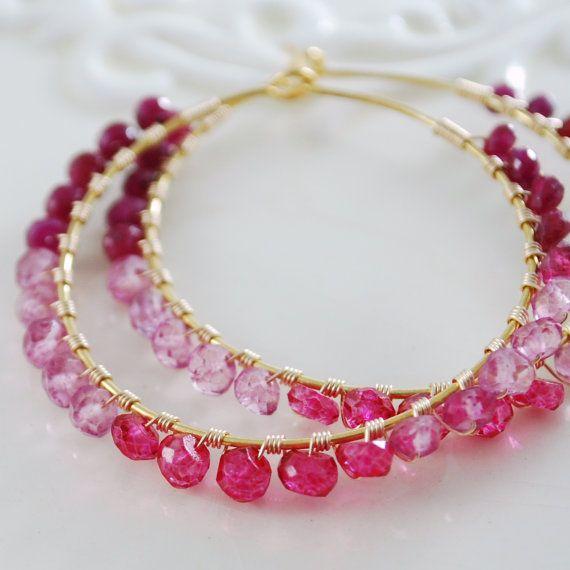 Pretty pink hoop earrings