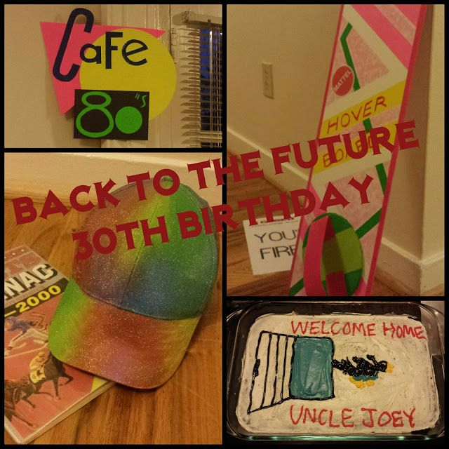 Back to the Future party Food ideas Instructions to make: Iridescent hat, hoverboard, fax machine, A Match Made in Space, Grays Sports Almanac, Cafe 80s, metallic sunglasses, translucent tie
