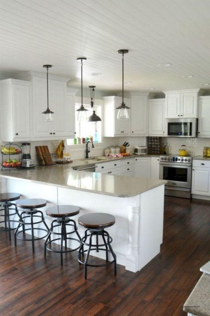 Stunning u shaped kitchen ideas with island 40