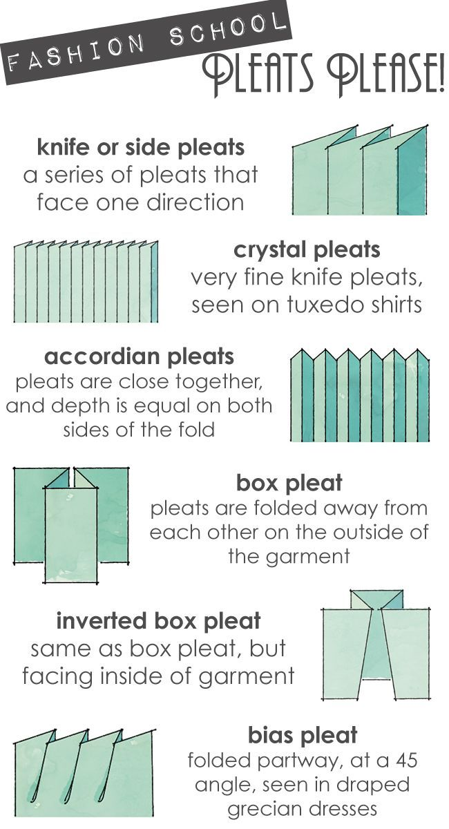 Pleats Please! Knife or side pleat. Crystal pleat. Accordian pleat. Box pleat. Inverted box pleat. More pleats...