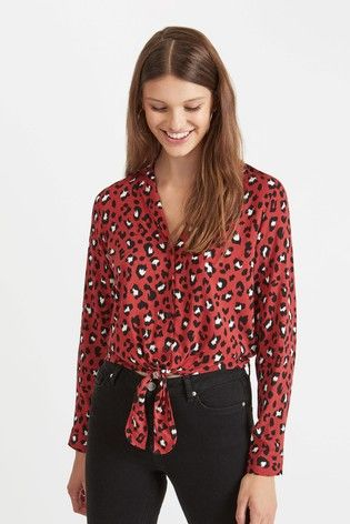 ad180c2d64b7e New in at Next. Miss Selfridge red animal print tie front blouse ...