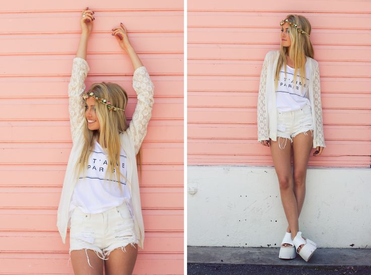 ♡ LOOK OF THE DAY ♡ 06-11-2014 Ph Anita Thomas Fotografía Make up Cami Olivera Model Martu Montoya Styling Catalina Fernandez Spinetta ♡ Kimono con magas de encaje ♡ Musculosa Paris ♡ Short Festival ♡ Cheer White Vip