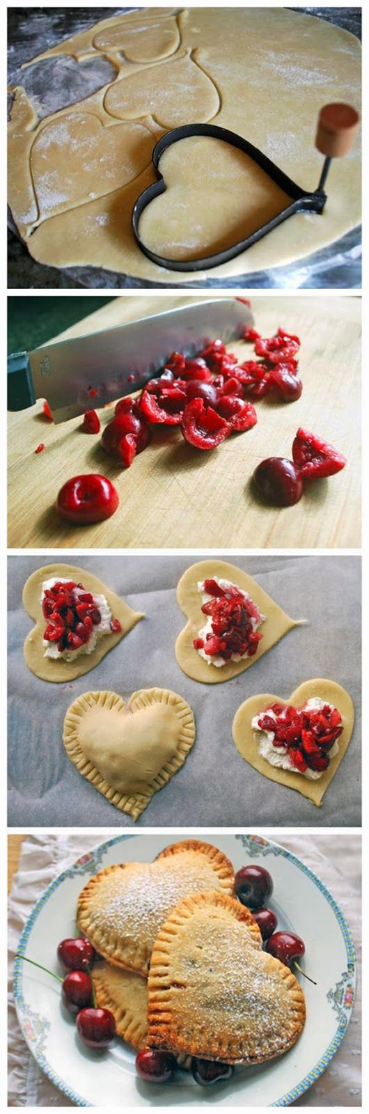 Sweetheart Cherry Pies....I think I'd sub the cherries with strawberries