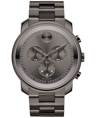 Movado Men's Swiss Chronograph Bold Gunmetal Ion-Plated Stainless Steel Bracelet Watch 44mm 3600277 - Movado - Jewelry & Watches - Macy's